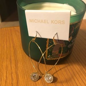 Michael Kors Large Gold hoops with Crystals